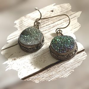 STERLING DRUZY QUARTZ COLOR CHANGING EARRINGS